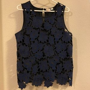 Anthropologie Black and Navy Lace Top